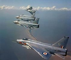 "RAF ""Lightnings"" 5 Squadron over Spurn Point. Military Jets, Military Aircraft, Fighter Aircraft, Fighter Jets, V Force, Aviation Image, Special Ops, Jet Plane, Royal Air Force"
