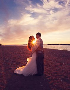 Sunset wedding pictures.