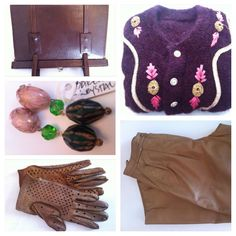 Vintage leather bag, vintage knit, vintage leather gloves, vintage leather pants, vintage pearl jewlery made by Pia Andersen - all awailable in Beware of Limbo Dancers