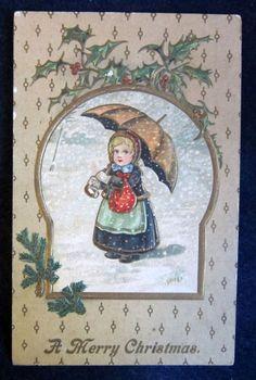 Small Victorian Girl Umbrella Snow--Beautiful Antique Christmas Postcard! #Christmas