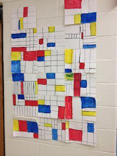 Piet Mondrian inspired fraction art - bringing art and math together.  Wonderful!