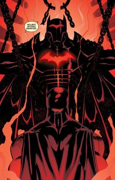 Batman accesses the Hellbat armor. Created by the Justice League as a weapon for Batman against superhuman threats, the suit will fatally drain Batman's metabolism if used for prolonged periods. Batman Y Robin, Im Batman, Super Batman, Superman, Batman Stuff, Gotham Batman, Batman The Dark Knight, Nightwing, Batgirl