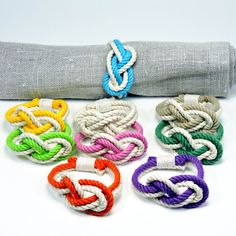 Figure Eight Infinity Knot Napkin Rings Tropical Colors Set of 4 - Mystic Knotwork