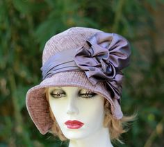 41bd473e6d0 Traditional Women s 20 s Style Gatsby Cloche Hat for Fall Winter Season  Fabric Hat Violet Purple Plum