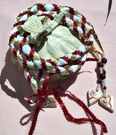 Handfasting cord in white satin with red and gold ribbons. Pentagram at center and three white clay hearts with red lace imprint. Sand Ceremony, Wedding Ceremony, Wedding Day, Wedding Stuff, Wiccan Wedding, Handfasting Cords, Unity Candle, Gold Ribbons, White Clay