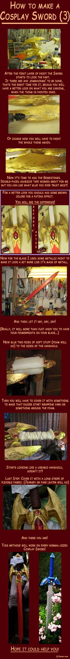 DIY How to make a Cosplay Sword 3 by *Eressea-sama on deviantART/// I always wondered about the handle Link Cosplay, Cosplay Diy, Best Cosplay, Cosplay Ideas, Costume Ideas, Cosplay Sword Tutorial, Costume Tutorial, Cosplay Weapons, Good Tutorials