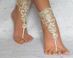 Barefoot sandals Ivory beach wedding barefoot by MarrietDress