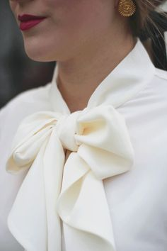 Tied Up in a Bow, Who What Wear bow blouse, bow, vintage Chanel, classic, feminine, black and white