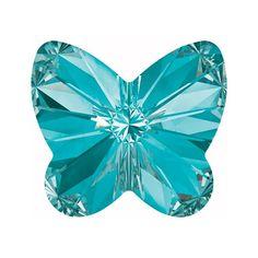 Swarovski Crystal, 4748 Rivoli Butterfly Rhines 5mm, 6 Pieces, Aquamarine F, Grey