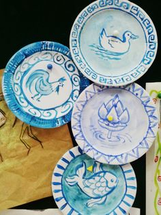 3rd grade art: Chinese Art. Ming and Yuan Dynasty porcelain plates. Blue acrylic paint on paper plates.