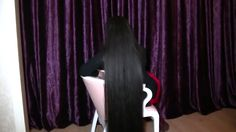 pretty girl cut her long long hair