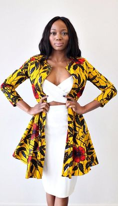 THE NAIROBI Ankara Jacket Dress in Golden Hibiscus. Ankara | Dutch wax | Kente | Kitenge | Dashiki | African print bomber jacket | African fashion | Ankara bomber jacket | African prints | Nigerian style | Ghanaian fashion | Senegal fashion | Kenya fashion | Nigerian fashion | Ankara crop top (affiliate)