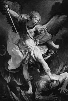 Guido Reni's Archangel Michael Trampling Satan, 1636. Black and white.