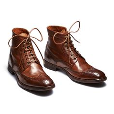 BOOTS LACEE PERFO CUIR MARRON