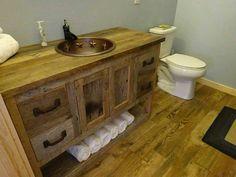 VOTRE Custom Made Grange rustique bois vanité avec portes, tiroirs et une étagères avec Free Shipping
