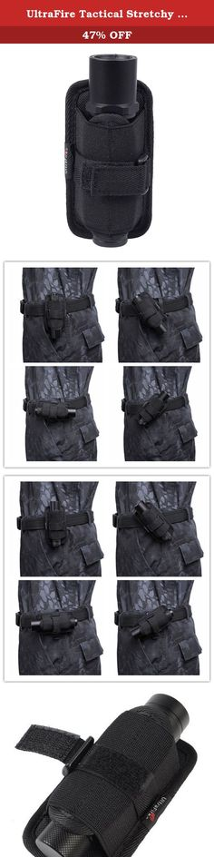 UltraFire Tactical Stretchy Flashlight Holster Pouch Holder with Rotatable Belt Clip for UltraFire WF-502B/T6/L2/C8 SureFire 6P/6PX/G2/G2X Flashlight Black. Fit for the following flashlights: 1. SureFire flashlights: 6P, 6PX, 6PL, G2, G2X, U2, P2X, P3X, L4, LX2, EB2, E2L, A2, V2, R1, Kroma. 2. Surefire flashlight: C2, C2L, L2, L4, P2X, V2, K2MS, 9P, G3, G3D-FYL, G3L, G3L-FYL, etc. 3. UltraFire flashlights WF-501B, WF-501C, WF-503B, WF-504B, etc. 4. Fenix flashlights: E21, LD10, LD15, LD20...