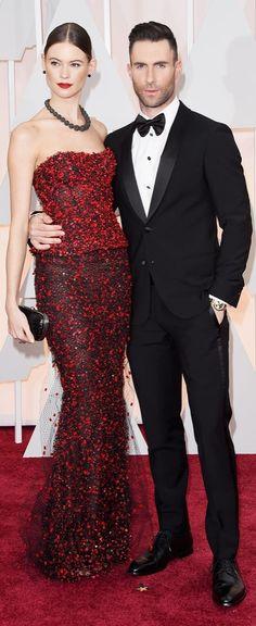 Behati Prinsloo and Adam Levine in Armani at the Oscars.