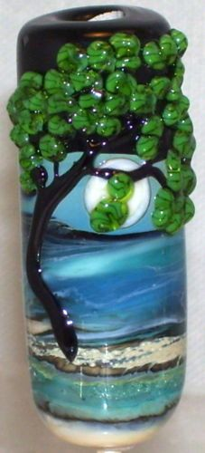 WSTGA~TREE BY THE SEA~MOON European charm handmade lampwork focal glass bead SRA  By Molly Cooley