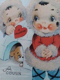 Valentines Greetings, Valentine Greeting Cards, Vintage Valentines, Fuzzy Coat, Lollipop Candy, Cousins, Children, Kids, Teddy Bear