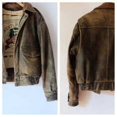 Vintage Distressed Brown Leather Bomber Jacket - Exploration by