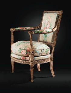 Fauteuil à dossier plat en bois laqué crème et rechampi or d'époque Louis XVI, attribué à Georges Jacob, vers 1790 - Sotheby's