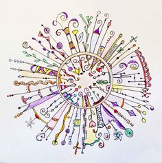 original circular dangle  - ink, colored pencil, watercolors