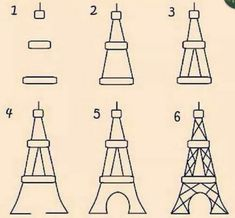 how to draw eiffel tower easy