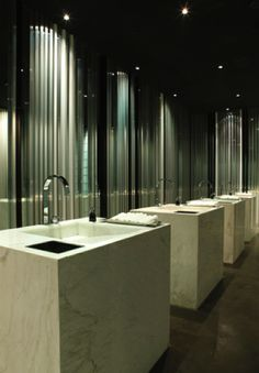 Bathroom, the BeefBar in Mexico designed by Humbert & Poyet _