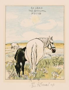 **horse bookplate; AutoLithography by Karel Benes, 2004