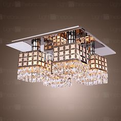 lustre de cristal moderno de vida inox 4 luzes | LightInTheBox