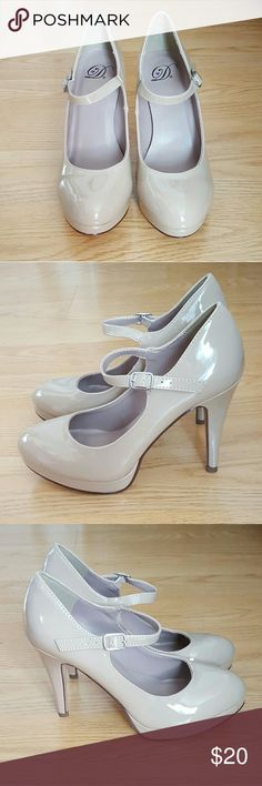 """Nude Patent Leather Round Toe Pumps Never worn. Mary jane ankle strap, round toe, 4"""" stiletto heel. Could fit a size 6.5 (my size in flats). DWDSFashion Shoes Heels"""