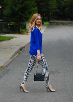 This would be a cute outfit for school. Pair houndstooth leggings with a bright sweater.