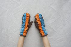 Brown mitts orange turquoise lace Knitted mittens Womens by BiiZii
