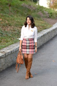 topshop plaid mini skirt and button down - @mystylevita