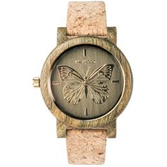 WeWood Wooden Watch - Papilio Army ($130) ❤ liked on Polyvore featuring jewelry, watches, butterfly watches, army watches, wewood, wooden wrist watch and wooden watches
