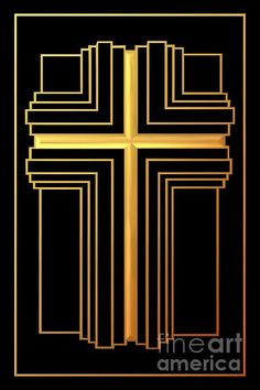 """$4.30 ... Golden Cross 2 ...  A shining """"3-D"""" gold colored cross. The Fine Art America watermark in the bottom right hand corner will not be on your purchased product.  #Cross #fineartamerica #crosses #Christian #Catholic #Art #religious #gold #resurrection #Jesus #God"""