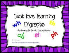 These digraph activities are great for teaching phonics, spelling, reading and vocabulary! The vocabulary aspect is especially useful for young children, ESL and Special education students.This packet includes:3 Choose the correct digraph page5 Cut, sort and paste digraph pages5 Mini books for each of the digraphs (ch, sh, th, wh, & ph - 2 books per page38 color cards for sorting by the correct digraph.