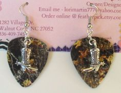 Mossy Oak Camo Camouflage guitar pick earrings with cowboy boot charm country. $7.00, via Etsy.