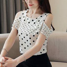 Polka Dot Print, Polka Dot Top, Printed Shorts, Off The Shoulder, Chiffon, Short Sleeves, Blouse, Prints, Ebay