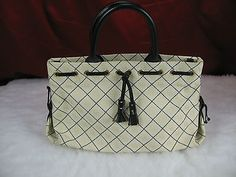 Large Dooney & Bourke Handbag With Dust Bag Black & White With Leather Handles