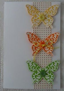 Stamped and embossed butterfly card. Website has other cute uses of same stamp, but it's in Norwegian.