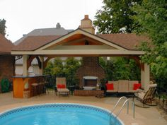Pool House Designs for Beautiful Pool Area: Pool House Designs Natural Stone Fireplace High Bar Chairs
