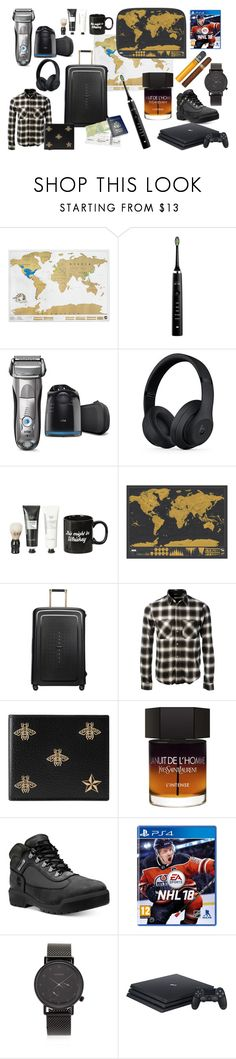 """""""wish list veru christmas 2017 for men"""" by veronika-harnolova on Polyvore featuring Luckies Of London, Philips Sonicare, Braun, Beats by Dr. Dre, Samsonite, AMIRI, Gucci, Yves Saint Laurent, Timberland and Komono"""