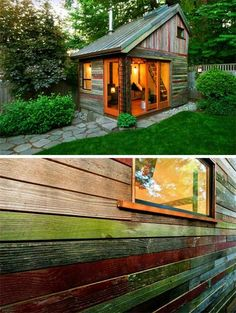 Better than a treehouse… A backyard house that is environmentally friendly! Besser als ein Baumhaus … Ein Hinterhofhaus, das umweltfreundlich ist! Tiny House, Mini Chalet, Backyard House, Backyard Cottage, Backyard Studio, Backyard Play, Backyard Retreat, Recycled House, Recycled Wood