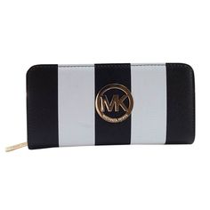 OMG! You can buy this Michael Kors Striped Large Black Wallets for $29.99 now. It never happened. #NYFW #Fashion