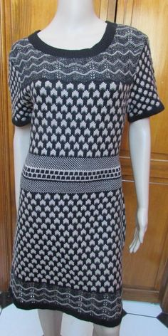 Romeo and Juliet Couture Taupe & Black Short Sleeve Sweater Dress Sz L NWT #RomeoJulietCouture #SweaterDress #Casual