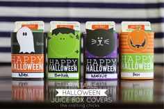 Wrap around the girls' water bottles instead! Free Printable Halloween Juice Box Covers at the Crafting Chicks. Perfect to use for Halloween parties. Halloween Juice, Halloween School Treats, Halloween Drinks, Holidays Halloween, Halloween Diy, Happy Halloween, Halloween Classroom Decorations, Halloween Printable, Imprimibles Halloween
