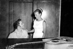 Elvis and 19-year old Sharon Spencer Rosanne backstage at the Polk - Aug. 6, 1956. Photo courtesy OldSchoolCool and FECC/Jove