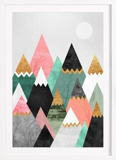 Pretty Mountains as Framed Poster by Elisabeth Fredriksson   #JUNIQE #homedecor #artprint #graphic #mountains