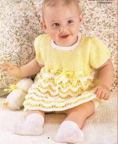 baby dress vintage knitting pattern PDF instant by Ellisadine
